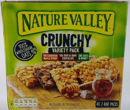 Nature Valley Crunchy Variety Pack 40 x 2-Bar Packs, 100% Wholegrain Oats